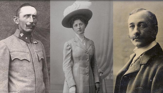 Komponist Alois Trost, seine Schwester Baroness Theresia, und der Gatte Baron Adalbert von Mengershausen