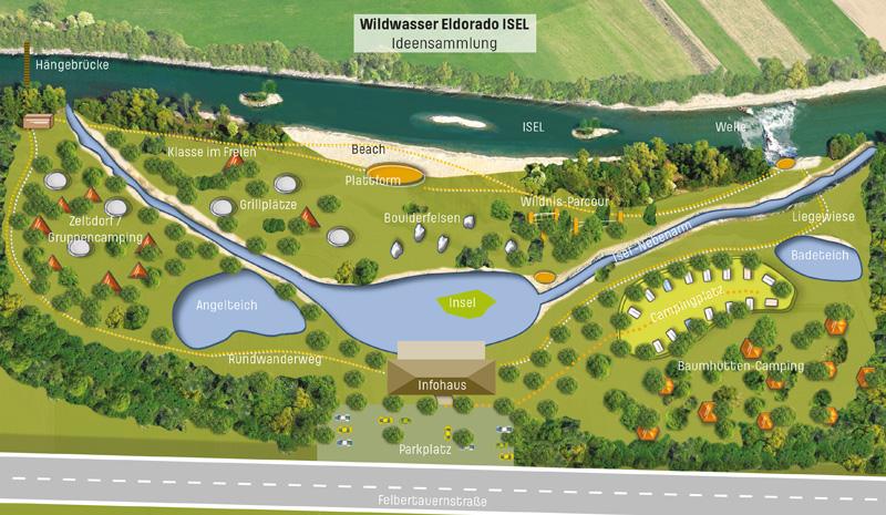 """Die Grafik zeigt eine schematische Skizze zur Idee """"Wildwassererlebnisraum Isel"""", wie sie auch bei der Öffentlichkeitsveranstaltung in Ainet am Abend des 26.1. präsentiert wurde. Grafik: Revital"""
