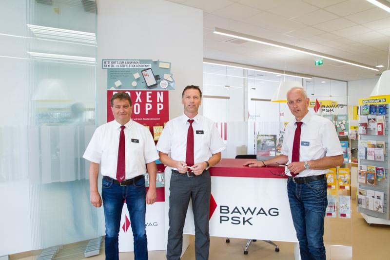 v.l.n.r.: Die Bankberater Klaus Kofler, Otto Trojer und Christoph Bergerweis