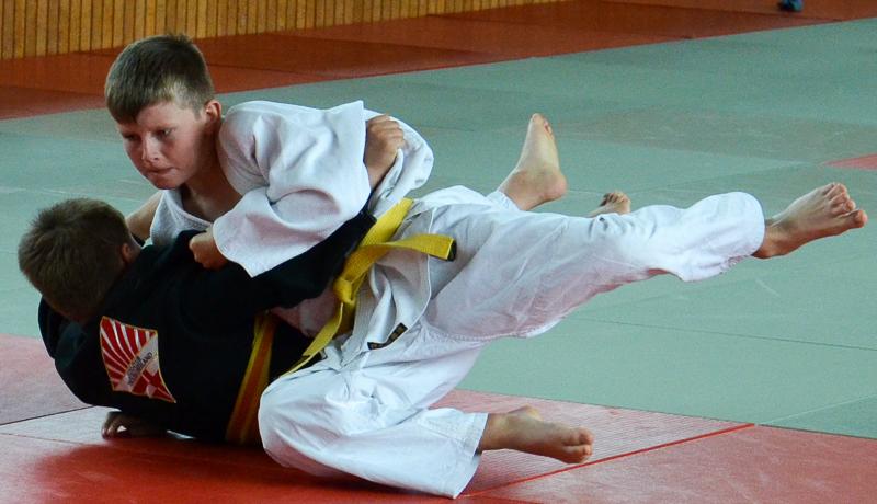 Martin Kröll (im weißen Judogi) holte sich mit beherzten Kämpfen den Vizemeistertitel.