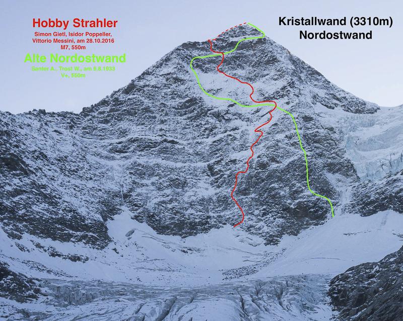 Über die grün eingezeichnete Route erreichten am 9. August 1933 Albert Santner und Willi Trost den Gipfel der Kristallwand. Simon Gietl, Isidor Poppeller und Vittorio Messini durchstiegen die Nordostwand am 28. Oktober 2016 über die rot markierte Route erfolgreich.