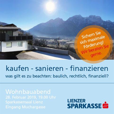 Lienzer Sparkasse Wohnbauabend vom 15. bis 28.2.2019