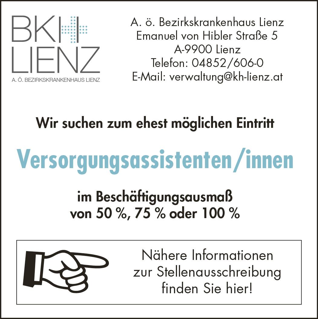 BKH Lienz Verwaltung Stellenmarkt vom 18.4. bis 28.4.2019