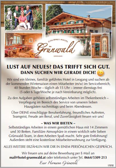 Gourmet Hotel Grünwald von 17. bis 23.9.2019